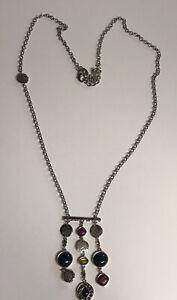 """Chico's Silver Long chain w/ 3 Strand Dangle Stone Pendant 17"""" Chain Drop"""