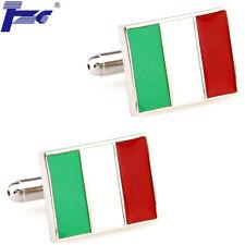 TZG Cuff Links Men Flag of Italy Italian Shirt Cufflinks With Velvet Bag