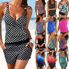 Damen Sommer Bikini Set Tankini Top Gepolstert Strand Bademode Badeanzug Neu