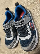 Skechers Boys' Light-Up Sneakers Sz 11 Athletic Tennis Shoe Red, White, And Blue