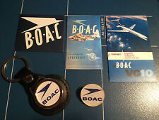 B.O.A.C. AIRLINES LEATHER KEY RING,   GOLD PLATED    BADGE  +   3 X STICKERS