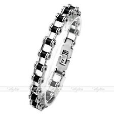Men Women Silver Stainless Steel Rubber Link Bicycle Chain Motor Bracelet Bangle