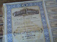 RARE PART DE COMPENSATION VERRERIES LORRAINES SARREBOURG 1930 DAUM GALLE