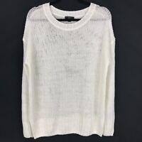 J. Crew Womens White 100% Linen Open Knit Beach Sweater Small