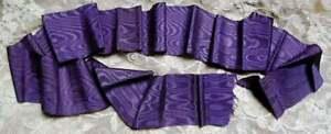 "Antique 1800s Victorian Era FRENCH Violet PURPLE SILK MOIRE RIBBON 2 1/4""W x 55"""