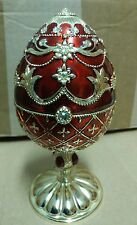 """6 3/4"""" Faberge Egg Music Box Red/Gold Cat"""