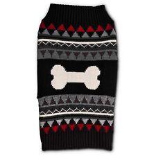 Petco Bond and Co Red and Black Bone Fair Isle Dog Sweater