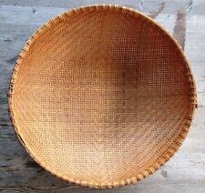 "Vintage Chinese Handmade Large 16"" Round Wicker Basket"