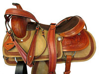 15 16 17 WESTERN SADDLE ROPING HORSE TRAIL RANCH FLORAL TOOLED USED LEATHER TACK