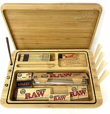 More details for raw spirit box - wooden rolling tray box with cones, papers and tips set