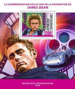 Central African Rep Famous People Stamps 2020 MNH James Dean Celebrities 1v S/S