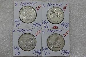 Ukraine 2 hryvnia EAGLE SCARCE 1999 + OTHERS - 4 COINS LOT B38 POL100