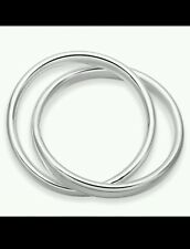 UK Solid 2 in 1 Bangle 925 Stamped Silver special UK friend lady men gift + bag