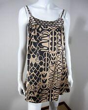 EMPHASIS 100% SILK SPAGHETTI STRAP SCOOP DRESS SIZE 2 BROWN SHINY GEOMETRIC SILK