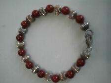 "STERLING SILVER 7"" L BRACELET WITH AGATE STONE"