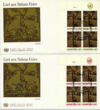 UNITED NATIONS 1972 ART AT THE UN BLOCK 4 on 2 FIRST DAY COVERS GENEVA SHS