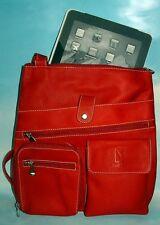 "NEW GENUINE REAL RED LEATHER BAG SLING MESSENGER SATCHEL 12""X13.5''"