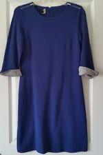Timeless Talbots Petites Royal Blue Cotton Piqué Dress Contrasting Flip Cuffs MP