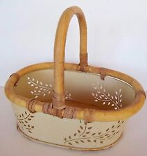 "Rustic Metal Basket Oval Ivory Bamboo Handle Country Farm Decor 12"" x 9"" Heavy"