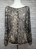 Buffalo Jeans Co batwing top size M black sheer snakeskin print open back shirt