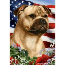 Patriotic (1) House Flag - Fawn Staffordshire Bull Terrier 16245