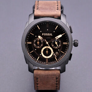 New Fossil Machine Chronograph Brown Dial Men's Wrist Watch FS4656 42mm