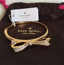NWT Kate Spade Large Bow Hinge Bangle Love Notes Bracelet - Clear/ Gold