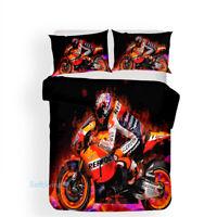 Fire Motorbike Single/Double/Queen/King Size Bed Doona/Duvet/Quilt Cover Set