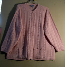 Liz & Me 5X Cardigan Sweater Pink Channel Knit     STYLISH BOTTOM POCKETS   [92]