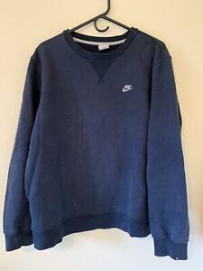vtg Nike Small Swoosh Crewneck Sweatshirt Faded Navy - Fair Condition
