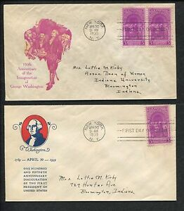 Lot of 4 First Day Covers 150th Anniversary Inauguration of George Washington