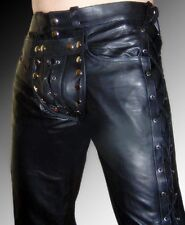 leather-pants-NEW-leather-gay-pants-zip-back side code piece lacing  sexy