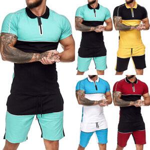 Herren Trainingsanzug Sportanzug Thirt+Shorts Set Fitness Poloshirt Jogginganzug