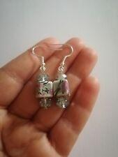 Ohrringe ART DECO earrings, Ceramic, GLASS, SILVER 925, 5CM Schmuck Weinachten