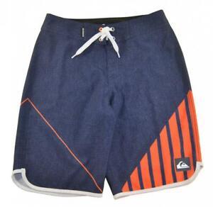 Quiksilver Boys Navy Blue & Orange Printed Board Short Size 26 (12 Boys)