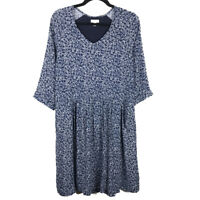 Garnet Hill Blue White Floral Shift Dress Size 8