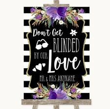 Wedding Sign Black & White Stripes Purple Don't Be Blinded Sunglasses