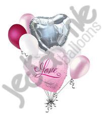 7 pc I Love You Pink Romance Heart Valentines Day Balloon Bouquet Mine Hug Kiss