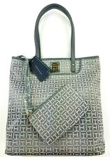 Tommy Hilfiger TH Gray & White Tote Bag with Matching Coin Pouch NWT MSRP $99