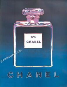 CHANEL N5 PERFUME BY ANDY WARHOL ORIGINAL ON LINEN 22X29 INCHES BLUE