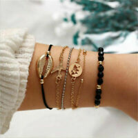 6PCS Women Boho Shell Airplane Beads Hollow Map Bracelet Bangle Jewelry Elegant
