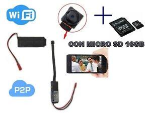 Telecamera micro camera + MICRO sd 16 GB A batteria  Wifi connessione diretta sm