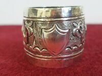 ANTIQUE c1880 VICTORIAN  SILVER ANGLO INDIAN napkin ring village scene