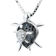 "925 Sterling Silver Mother and Baby Turtle CZ  Animal Charm Neclace 18"" Ss748"