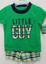 "Baby Boy Blue & Green ""Little Guy"" Outfit  0-3 Months Newborn NWT Child of Mine"