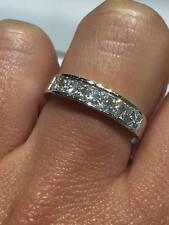 18CT WHITE GOLD 1.20CT GSI DIAMOND 7 HALF ETERNITY PRINCESS CUT LADY RING GOY60