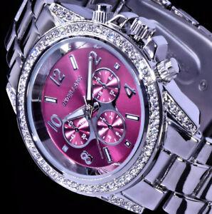 Excellanc Frauen Damen Armband Uhr Dunkles Pink Silber Farben Metall CHR07