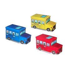 Aufbewahrungs Hocker Spielzeugkiste School Bus Spielzeugbox Sitzhocker rot  NEU