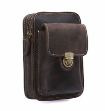Mens Rustic Leather Fanny Pack Waist Leather Belt Bag Pouch for Cellphone iPhone