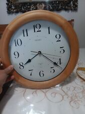 "12"" Seiko wall clock. Light Brown oak wood clock quiet sweep"